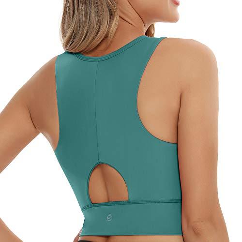 Sport-BH für Damen, Workout, bauchfrei, gepolstert, für Yoga, Fitnessstudio - Blau - Large