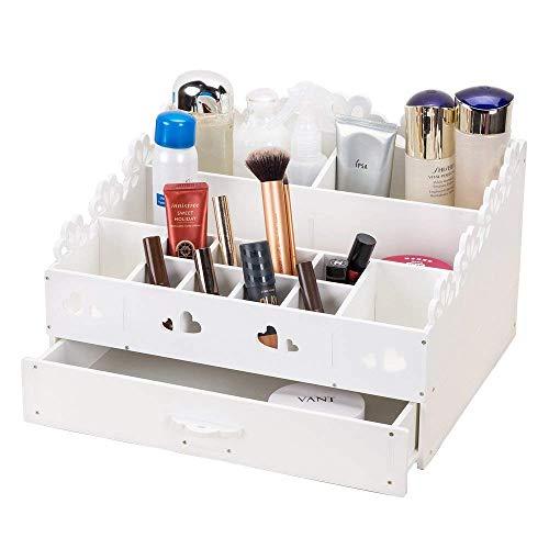 YUMUO Boîte de Rangement Maquillage Bricolage,Coffret tiroir cosmétique pour brosses Bijoux Organisateur présentoir de Vernis à Ongles-Blanc
