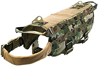 Ultrafun Tactical Dog Molle Vest Military Training Harness with Handle Outdoor Pet Supplies (Camo, L)