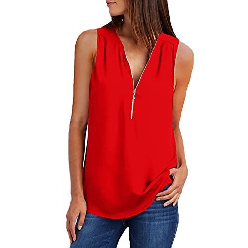 VCAOKF Blusa de mujer suelta, con cierre de cremallera, cuello en V, sin mangas, informal, liso, suelto, sin mangas, camiseta de un solo color rojo M