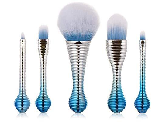 YMZ Lot de 5 pinceaux de maquillage avec manche court Bleu/argenté Pinceau de maquillage professionnel pour fond de teint, poudre et poudre.