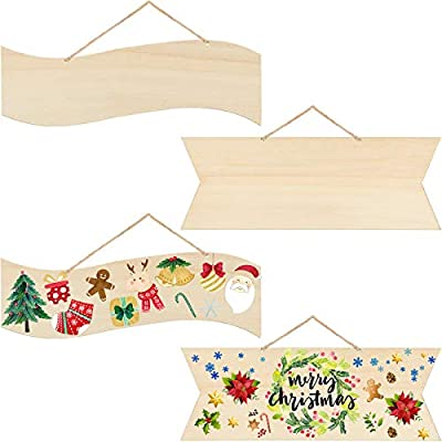 Unfinished Hanging Wood Sign Blank Hanging Decorative Wood Plaque Wooden Slices Banners with Ropes for Pyrography Painting Writing Home DIY Crafts Supplies, Pre-Strung (4, Beige)