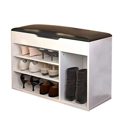 HLL Cambio de zapatos Taburete Taburete de zapatos Taburete de almacenamiento moderno simple Banco de almacenamiento Taburete de zapatos Zapatero Estante de zapatos Sofá Taburete,Blanco