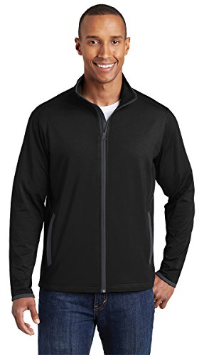 Sport-Tek Sport-Wick Stretch Contrast Full-Zip Jacket (ST853) -Black/Char -L