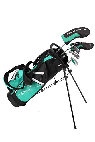 Aspire Golf Junior Plus Complete Golf Club Set for Children Kids - 5 Age Groups Boys & Girls - Right Hand (Green Ages 7-8)