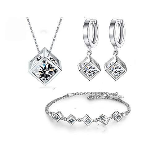 LSDJ QMDSH - Collar cuadrado + pendientes + pulsera (color de la gema: con pendientes de aro)
