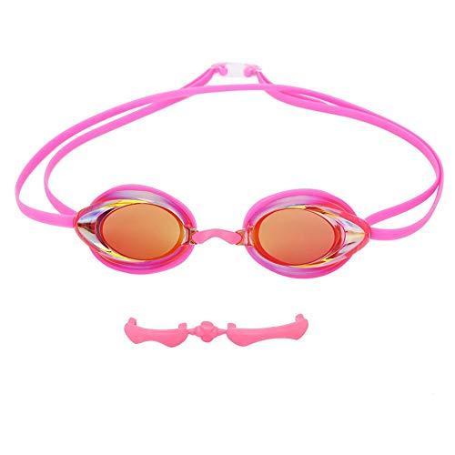 BOLORAMO Gafas de natación Impermeables, Gafas de natación Gafas de natación antivaho Ajustables para fanático de la natación(Rosado)