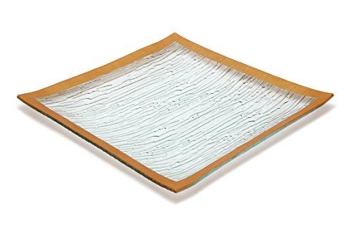 GAC Set of 4 Elegant Tempered Glass Dinner Plates Square Glass Plate 10.5 Inch, Break and Chip Resistant – Oven/Microwave Safe – Dishwasher Safe – Decorative Gold Border