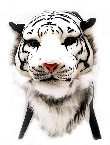 USAMYNA Animal Head Backpack Plush Bag 3D Animal Head Backpack Bag Tiger/Lion Head Backpack (White Tiger, Large)