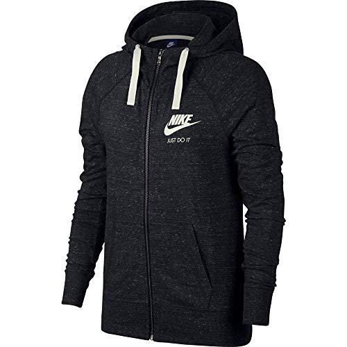 Nike Damen W NSW Gym VNTG Hoodie FZ Sweatshirt, Black/Sail, 2XL