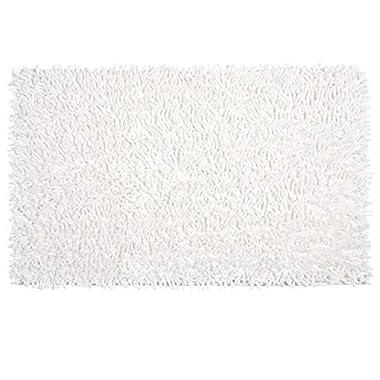 Vdomus Soft Microfiber Shag Bath Rug Extra Absorbent and Comfortable Anti-Slip Machine-Washable Large Bathroom Mat (20x32 Inch, White)