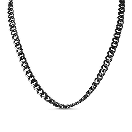 Steve Madden 24 Inch Black IP Plated Stainless Steel Curb Chain Necklace for Men