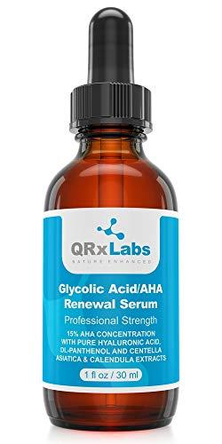 QRxLabs Acide Glycolique/Aha 15% Sérum Rénovateur - éclaircissant intensif, Lissage, Sérum GOMMANT nuit ou jour - Les rides et ridules Traitement - 1 bouteille Fl Oz