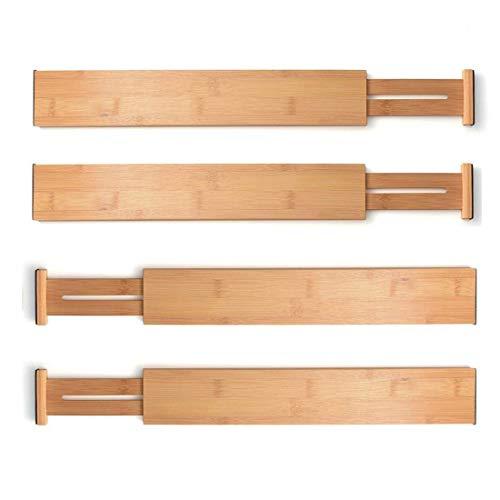 """4 Pack Bamboo Drawer Divider - Expandable Drawer Organizers (12.8""""-17"""") Spring Adjustable Kitchen Drawer Separators - Best for Kitchen, Dresser, Bedroom, Desk"""