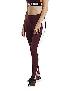 بنطلون رياضي ضيق مرتفع الخصر بخط جانبي مختلف اللون للنساء من ريبوك Linear - نبيتي، Large