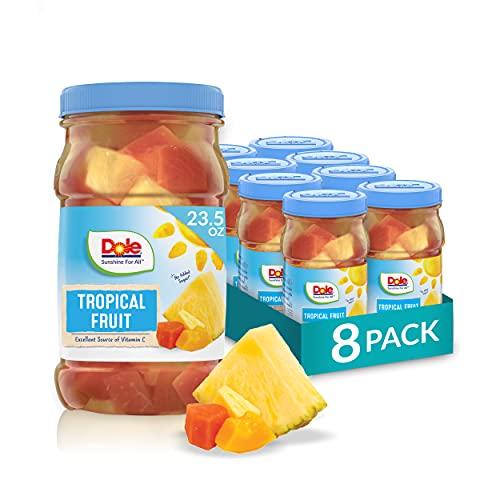 Dole Tropical Fruit in 100% Fruit Juice, Pineapple & Papaya, 23.5 Oz Resealable Jars, 8 Count