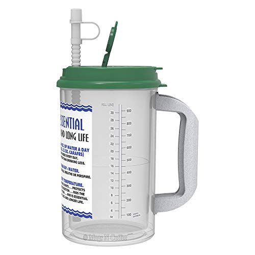 32 oz Insulated Cold Drink Hospital Mug with Green Lid | Water Essential Travel Mug