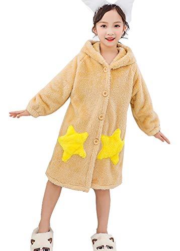 子供服 バスローブ キッズ フランネル パジャマ 女の子 ガウン ルームウェア 部屋着 プールタオル もこもこ あったか ふわふわ 優しい肌触り フード付き 厚手 保温 防寒 可愛い 暖か 秋冬 7色110-160cm (イエロー, 120)