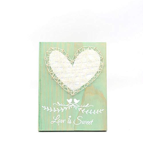 Diy handgemaakte houten wandplanken tekening kinderkamer decoratie string zijde schilderij groene liefde