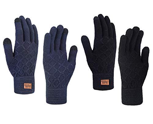 Chalier 2 Paare Damen Winter Touchscreen Handschuhe Winterhandschuhe Mit elastischen Manschetten Strick Sport Warme Handschuhe für Skifahren Radfahren und SMS MEHRWEG