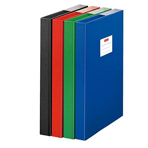 4 Herlitz Heftboxen/DIN A4 / aus Pappe/Farbe: je 1x grün, rot, blau, schwarz