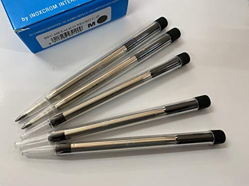 Inoxcróm 00971248- Recambios metalicos para bolígrafo, 5 unidades, color Negro punto medio