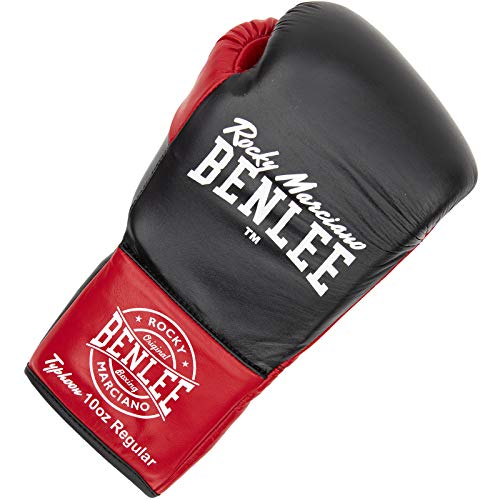 BENLEE Rocky Marciano Unisex– Erwachsene Typhoon Leather Contest Gloves, Black/Red, 10 oz L