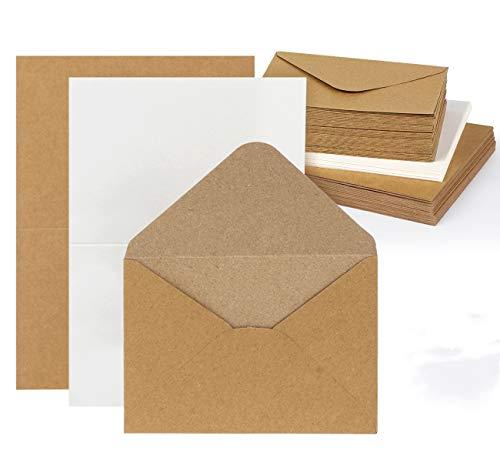 Mocraft 30 Vintage Kraftpapier Karten Set mit Umschläge & Weiß Einlege-Blätter Recycling-Doppelkarten für Grüße Einladung, Natur-Braun, DIN A6
