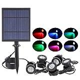 liu Solarstrahler LED IP68 Unterwasser-Projektionslichter Garten-Teichbeleuchtung für Gartenbrunnen-Teich und Terrasse,5pcs
