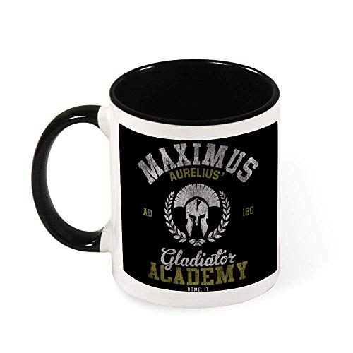 IUBBKI Maximus Aurelius Gladiator Academy Taza de caf de cermica Taza de t, regalo para mujeres, nias, esposa, mam, abuela, 11 oz