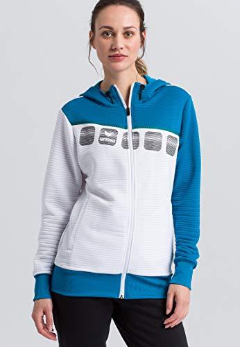 Erima Damen 5-C Trainingsjacke mit Kapuze Jacke, weiß/Oriental Blue/Colonial Blue, 36