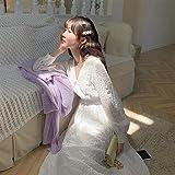 chushi Vestidos de Mujer Vestido De Hadas Blancas Mujeres De Manga Larga Francia Vestido Vestido Femenino Otoño Midi Elegante Vestido De Una Pieza Corea Oficina Señora Vestido de Novia Zzib