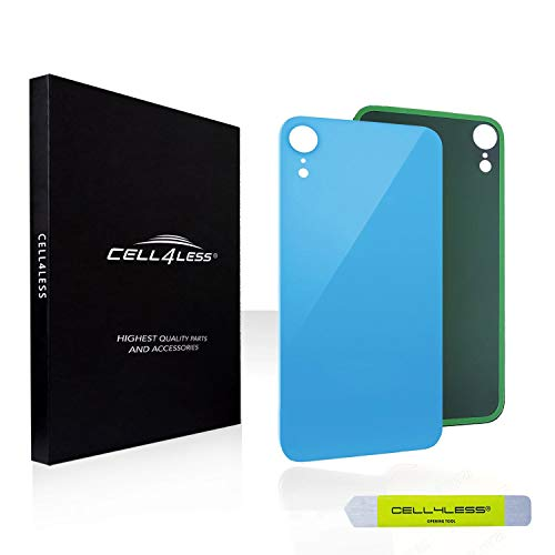 CELL4LESS Back Glass Replacement Compatible w/The iPhone XR Including Wide Camera Hole, Adhesive & Removal Tool (Blue)