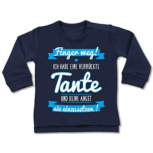 Shirtracer Sprüche Baby - Ich Habe eine verrückte Tante Blau - 6/12 Monate - Navy Blau - Pulli mit sprüchen Baby - BZ31 - Baby Pullover