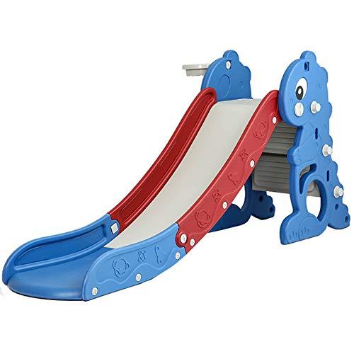 Byjia Kinderrutsche, 3 in 1 Faltbare Freistehende Rutsche, Basketballkorb, Treppenhausspielset, Für Drinnen Und Draußen,Blau
