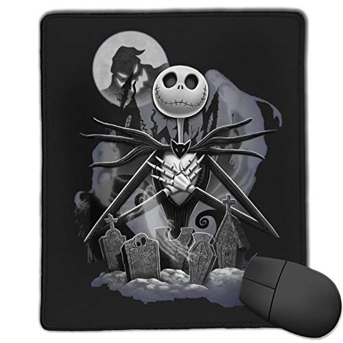 Eliphs Jack Skellington The Mouse Pad with Stitched Edge Premium-Textured Mouse Mat Rectangle Non-Slip Rubber Base Gaming Vertical Mouse Pad,for Laptop Computer & Pc 10x12 in