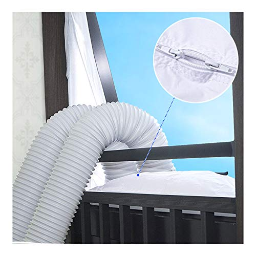 3m Flexible Cloth Sealing Plate Window Seal for Portable Air Conditioner And Tumble Dryer, Works with Every Mobile Air Conditioning Unit,Easy Install,Air Exchange Guards With Zip and Hook Tape (300CM)