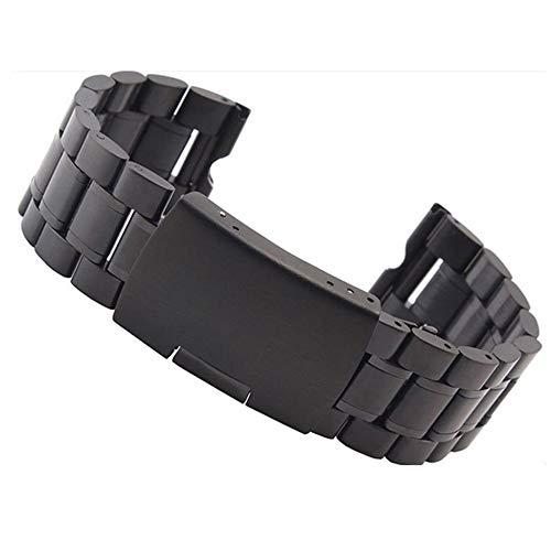 Uhrenarmband Edelstahl Armband Festes Armband Kompatibel Mit Motorola Moto 360 Smart Watch Armband (Color : Black)