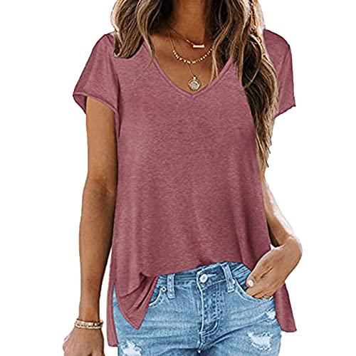 KeYIlowys Solid Color V-Neck Short-Sleeved Hem Slit T-Shirt Tops Women's Solid Color Loose Half-Sleeved Women Deep Pink