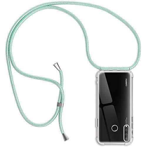 Funda con Cuerda Compatible con Huawei P30 Lite, Transparente Silicona Carcasa con Colgante, Rosyheart Suave TPU Gel Slim Case con Ajustable Correa Collar Anti Golpes Case - Menta Verde