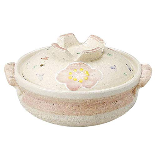 Japanese Donabe Hot Pot,Round Ceramic Casserole With Lid,Printed Earthenware Clay Pot,Clay Rice Cooker,Heat-resistant Stockpot Stew Pot,Health Saucepan Sakura 1.5l