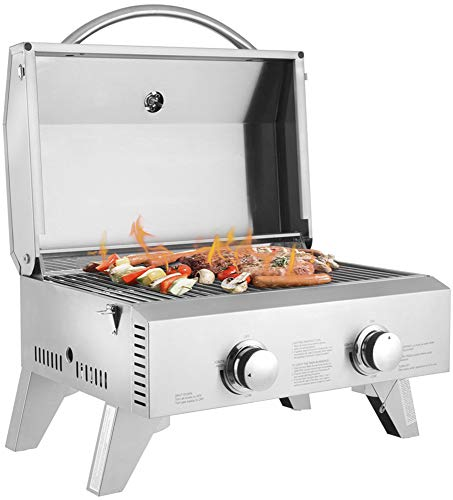Realremhai Portable Gas Grill with Foldable Legs for Outdoor Camping Picnic Tabletop Stainless Steel 2-Burner 2000 BTU BBQ Grid Grills Propane