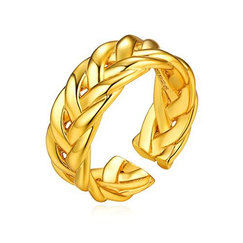 Silvora anillo plata de ley 925 anillo mujer ajustable de oro baño anillo trenzado regalo novio cumpleaños fiesta