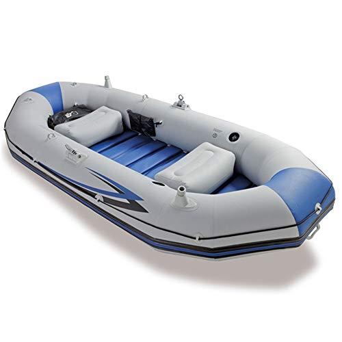YLiansong-sports Kanu aufblasbar Sitzkajaks Berufsseemann DREI Schlauchboot Gummi Rudern Fischerboot zu senden Paddel Handpumpe/grau Kanu Mit Paddel Wassersport (Farbe : Grau, Größe : 297x127x46CM)