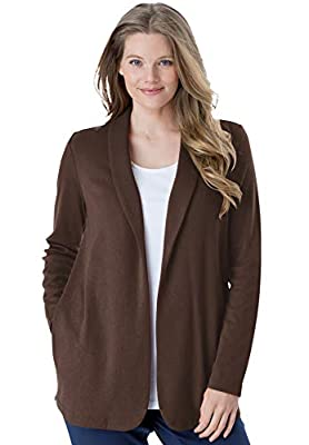 Woman Within Women's Plus Size 7-Day Knit Jacket - 2X, Chocolate from Woman Within