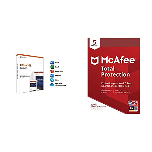 Microsoft Office 365 Famille + McAfee Total Protection 2019 5 Appareils