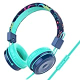 Baseman Kids Headphones with Microphone, Wired On-Ear Headsets with Safe Volume Limited 85 dB, Foldable and Adjustable Headphones with a 3.5mm Jack Cord for Children/School/Cellphone/Tablet Blue