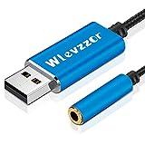 Adaptador de Audio USB a Conector de 3,5 mm, Tarjeta de Sonido estéreo con Chip Incorporado, Adecuado para Auriculares, PS4, PC, computadora portátil,computadoras de Escritorio,Altavoz (Bleu)