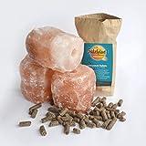 BIOMOND Salzleckstein Kritallsalz 3er-Set (3 x 2kg) Minerallecksteine mit Kordel & GRATIS...
