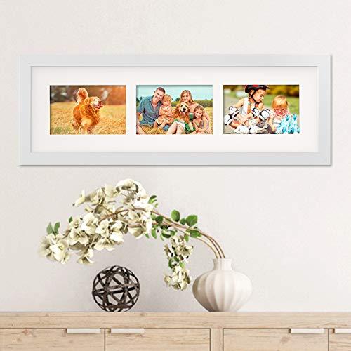 PHOTOLINI Fotocollage-Bilderrahmen Modern Weiss aus MDF Collagerahmen Bildergalerie-Rahmen für 3 Bilder 10x15 cm Wechselrahmen mit Passepartout